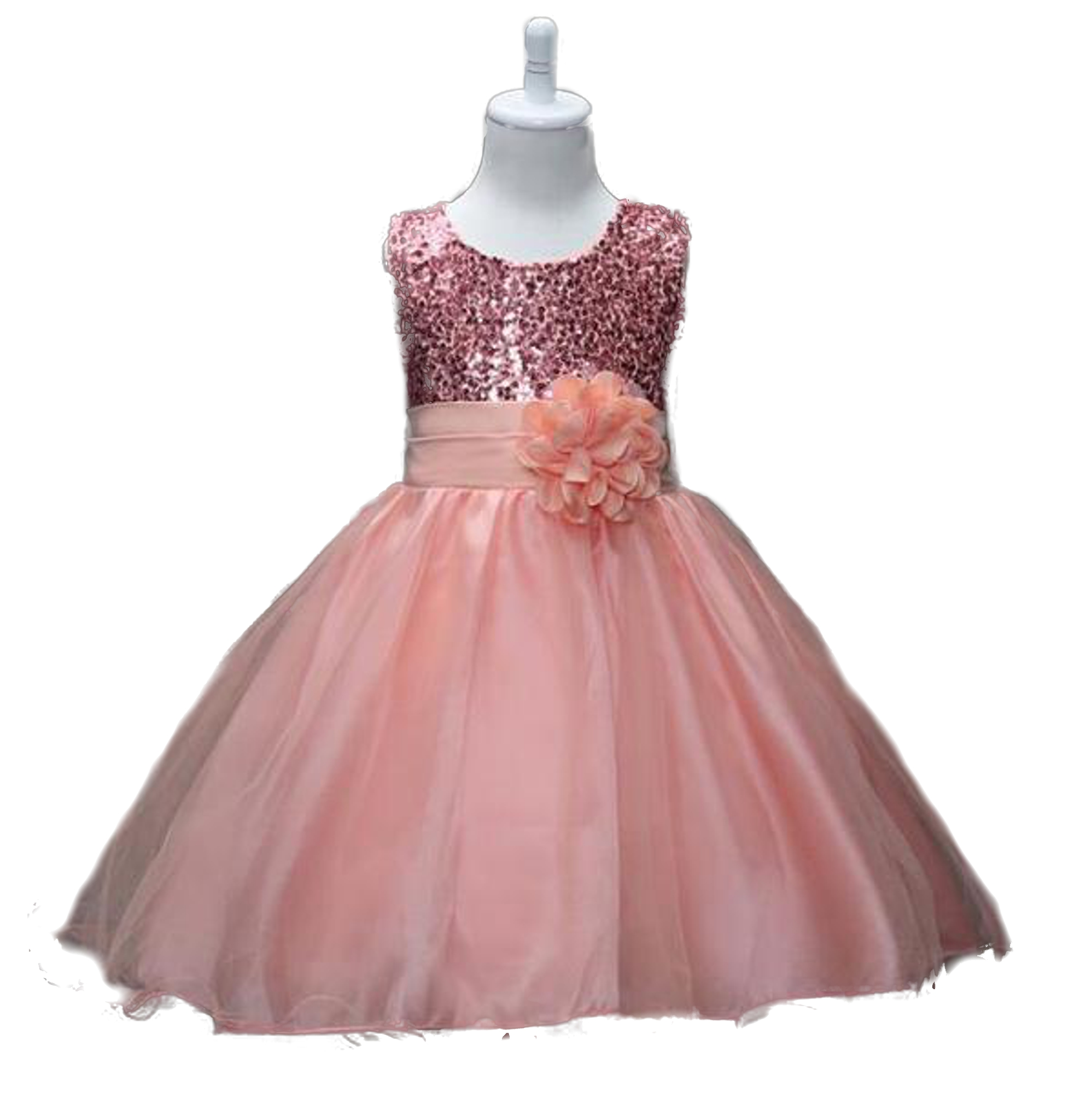 F019 Sequin And Sparkle Flowergirl Dress Rose Gold Apricot Snow